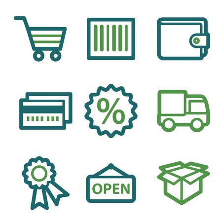 billfold: Shopping web icons, green line set