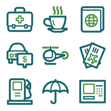 Travel web icons, green line set Vector