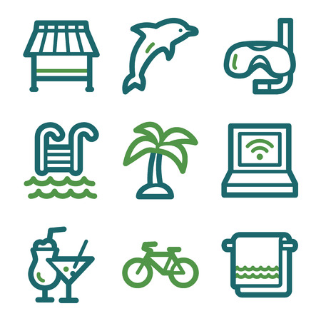 pool party: Vacation web icons, green line set
