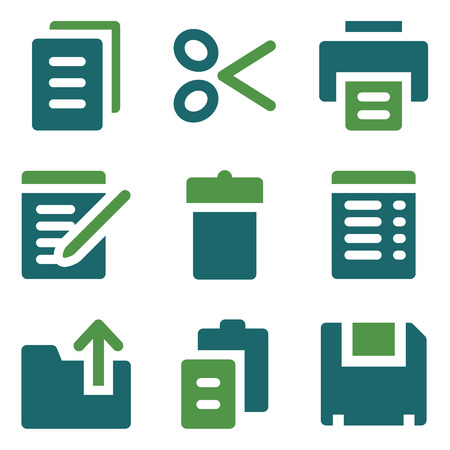 Document web icons, green mix set Vector