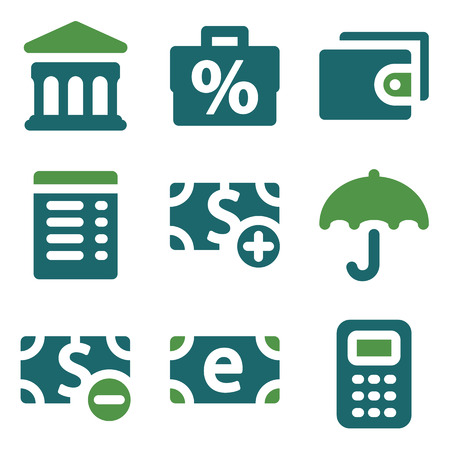 Finance web icons, green mix set Vector