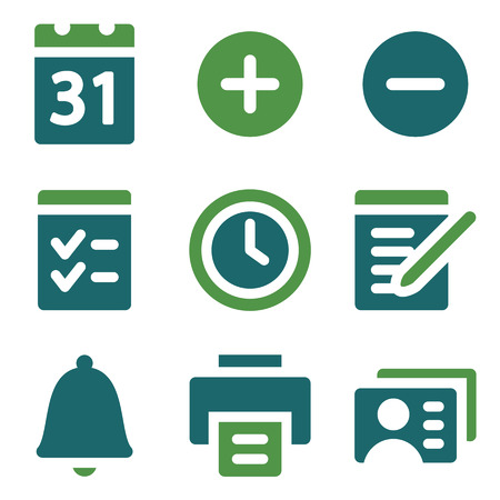 Organizer web icons, green mix set Vector