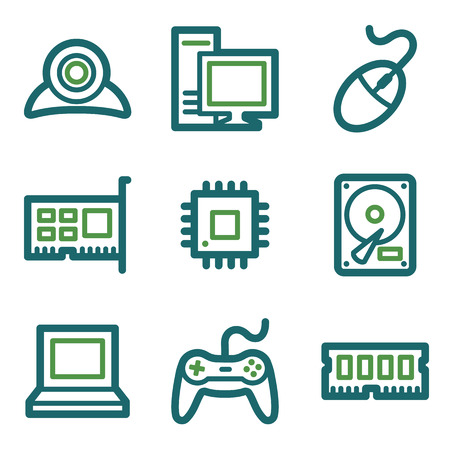Computer web icons, green line set Illustration