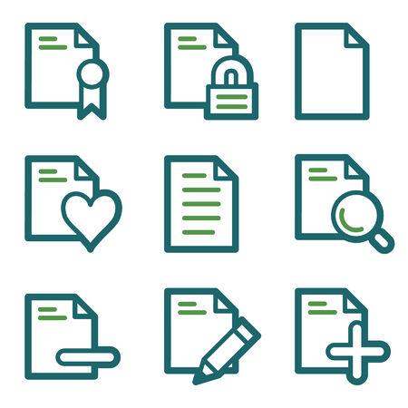 Document web icons, green line set