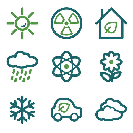 Eco web icons, green line set Vector