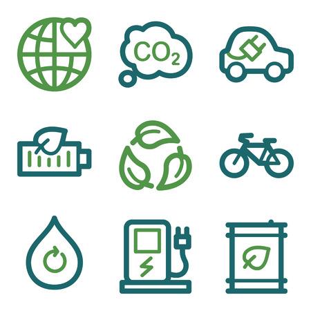 electro world: Eco web icons, green line set Illustration