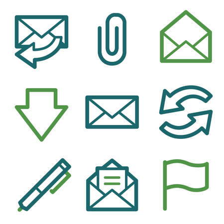 attach: Email web icons, green line set