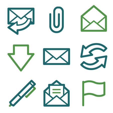 attach: Iconos de la web de correo electrónico, sistema de la línea verde