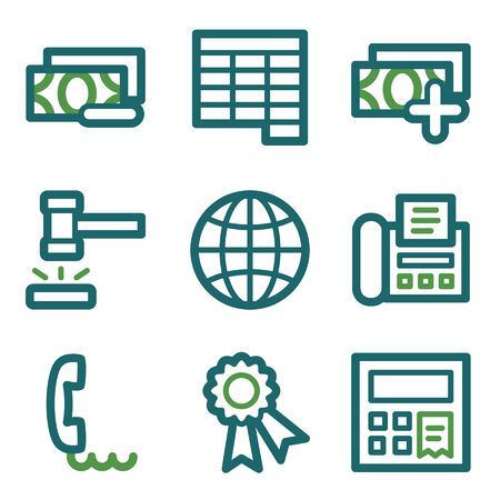 Finance web icons, green line set Vector