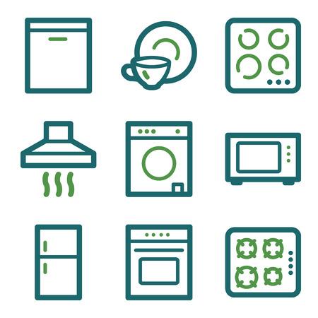 gas laundry: Home appliances web icons, green line set