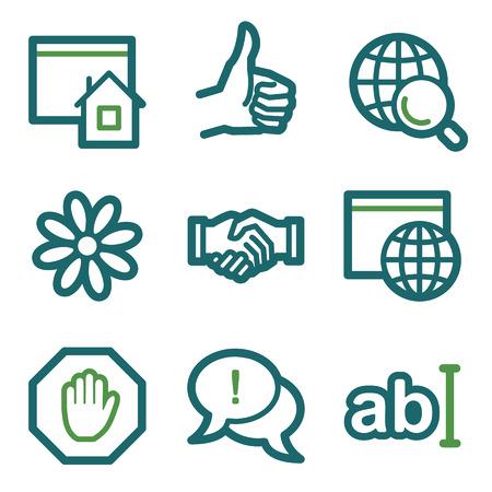icq: Internet web icons, green line set