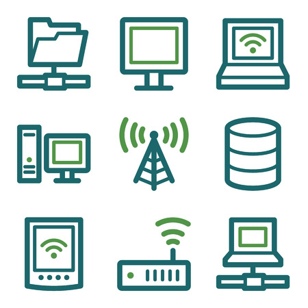 nettop: Network web icons, green line set