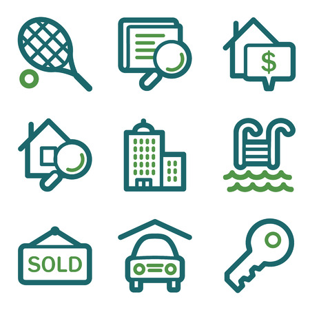 swimming pool home: Real estate web icons, green line set
