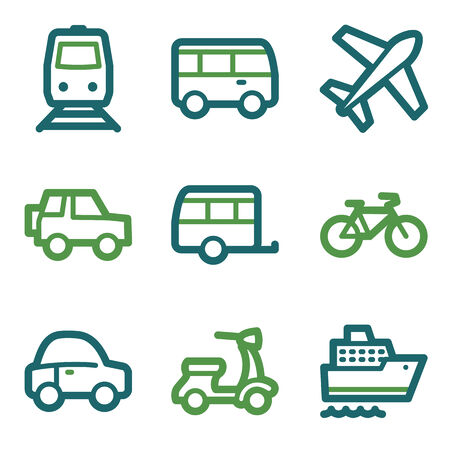 air liner: Transport web icons, green line set