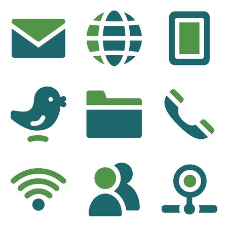 webcamera: Communication web icons, green mix set