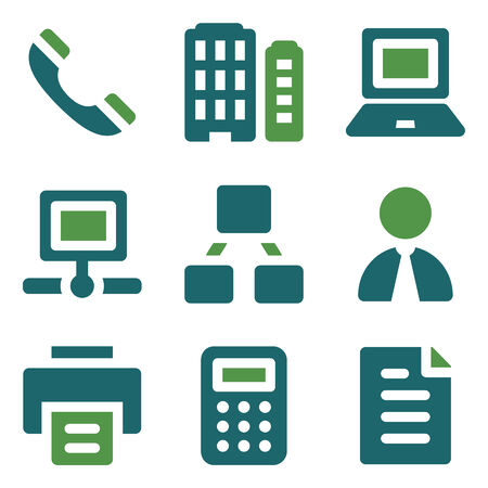Office web icons, green mix set Vector