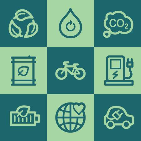 Ecology web icon set 4, green square buttons set Illustration