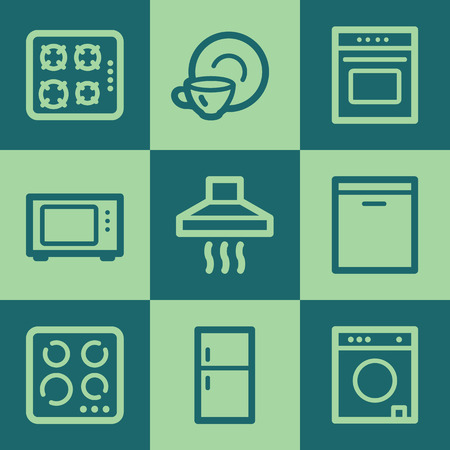gas laundry: Home appliances web icons, green square buttons set