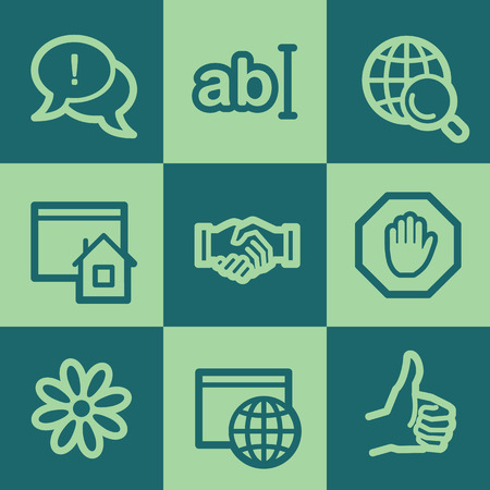 icq: Internet web icon set 1, green square buttons set