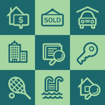 swimming pool home: Real estate web icons, green square buttons set Illustration