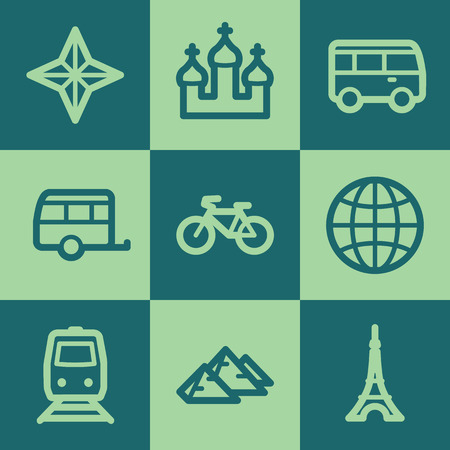 Travel web icon set 2, green square buttons set Vector