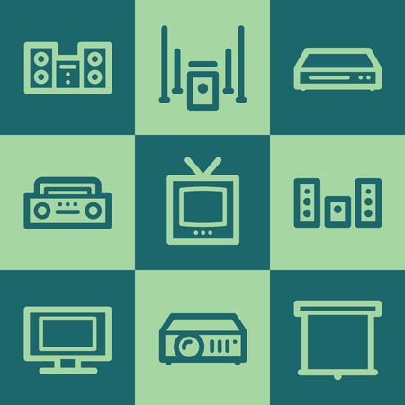 Audio video web icons, green square buttons set Vector