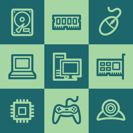 Computer web icons, green square buttons set Illustration