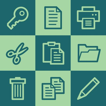 Document web icon set 1, green square buttons set Vector
