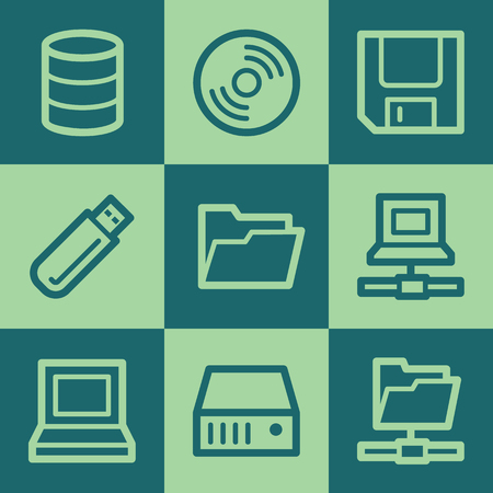 Drives and storage web icons, green square buttons set