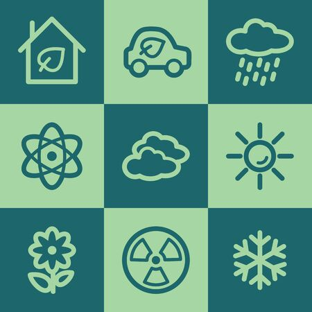 Ecology web icon set 2, green square buttons set Vector
