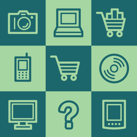 Electronics web icon set 1, green square buttons set Vector