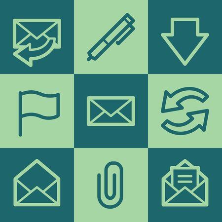 webmail: Email web icons, green square buttons set Illustration