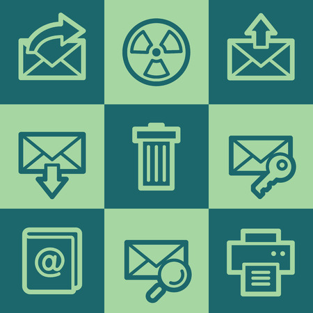 Email web icon set 2, green square buttons set Vector