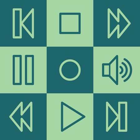 Media player web icons, green square buttons set Vector