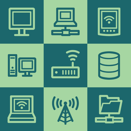 nettop: Network web icons, green square buttons set Illustration
