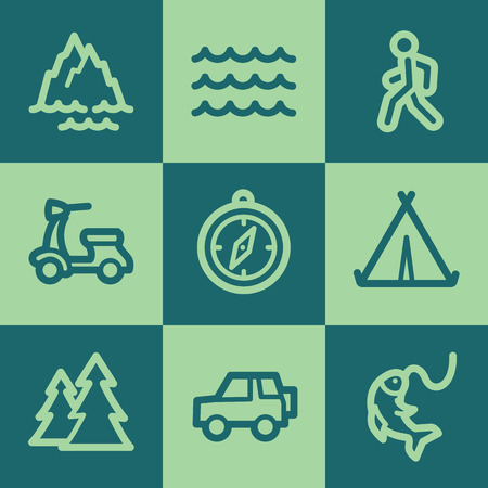 Travel web icon set 3, green square buttons set Vector