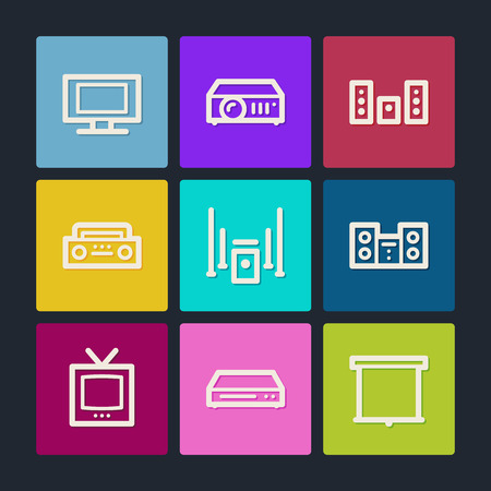 Audio video web icons , color buttons  Vector