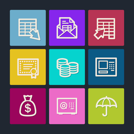 Banking  web icons, color buttons Vector