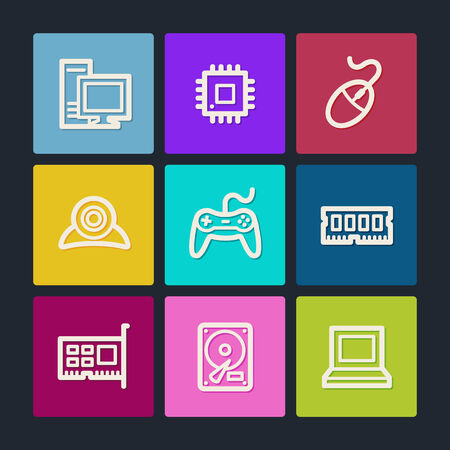 webcamera: Computer web icons, color buttons Illustration