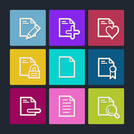 Document web icons set 2, color buttons  Vector