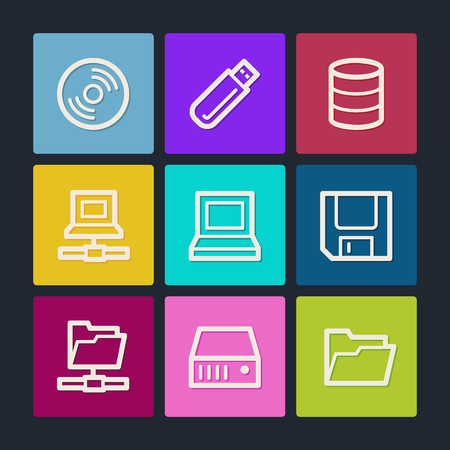 fdd: Drives and storage web icons, color buttons