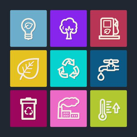 Ecology web icons set 1, color buttons  Vector