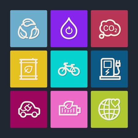 electro world: Ecology web icons set 4, color buttons  Illustration