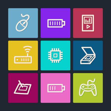 Electronics web icons set 2, color buttons  Illustration