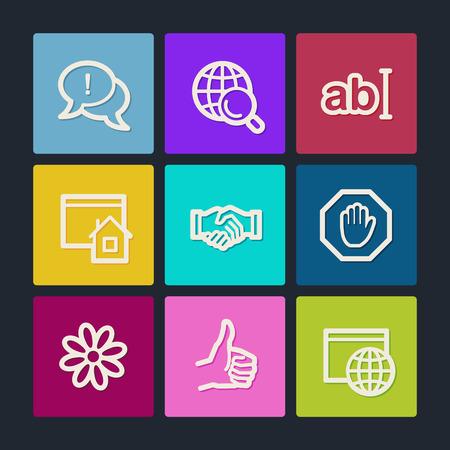 icq: Internet web icons set 1, color buttons
