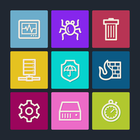 Internet security  web icons, color buttons Vector
