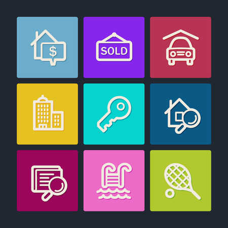 real tennis: Real estate web icons, color buttons Illustration