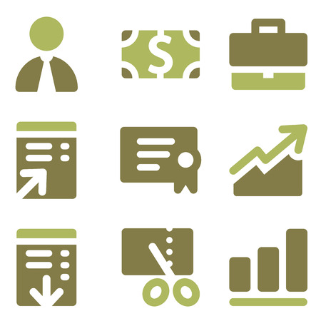 Finance web icons, olive mix set Ilustração