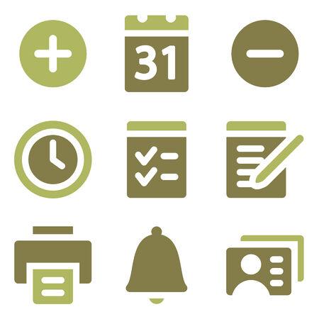 Organizer web icons, olive mix set Illustration