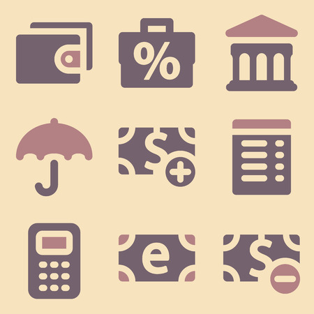 Finance web icons retro color series Vector